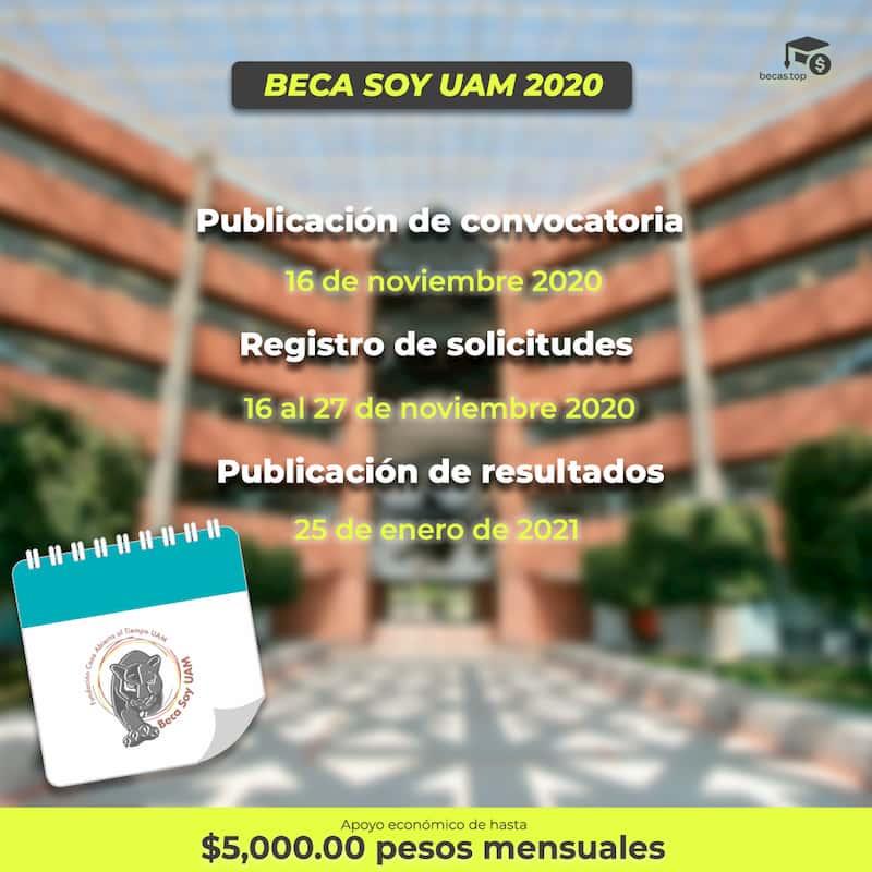 Calendario de fechas para el registro de la Beca Soy UAM 2020