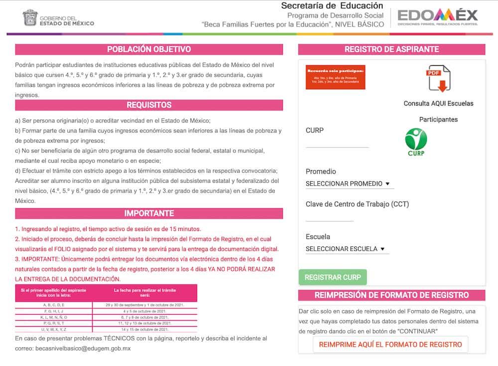 Registro de aspirantes a la beca edomex nivel basico